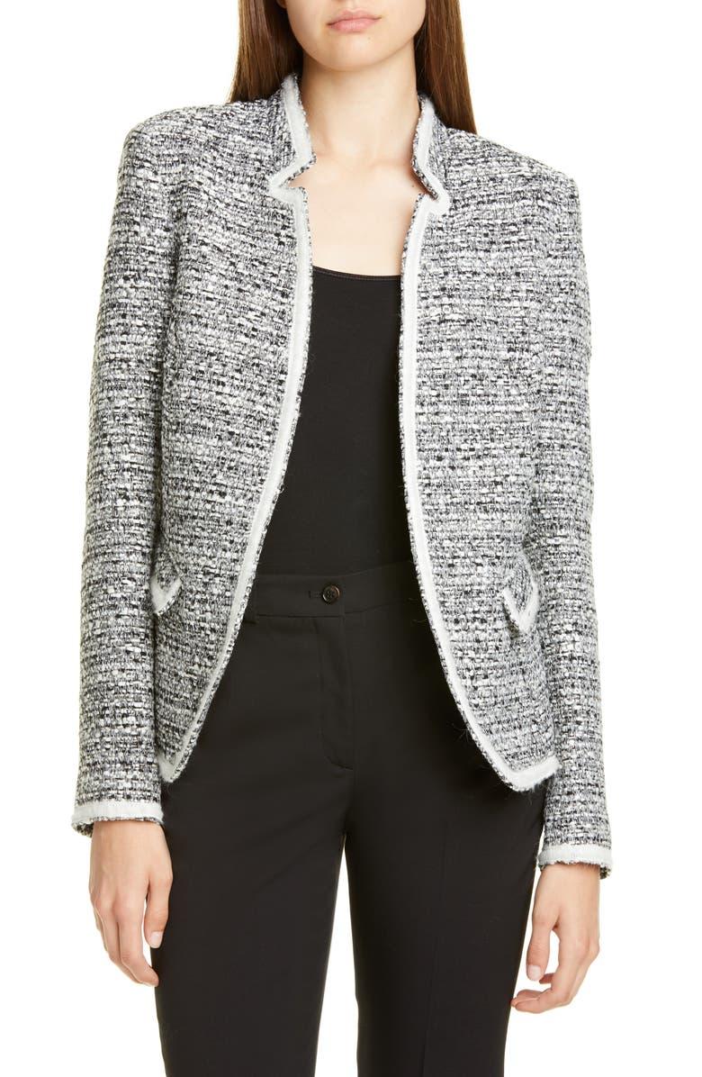 HELENE BERMAN Solid Trim Tweed Jacket, Main, color, BLACK/ WHITE