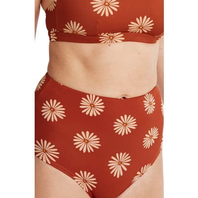 Madewell Second Wave Retro High-Waisted Bikini Bottoms, Regular - Red