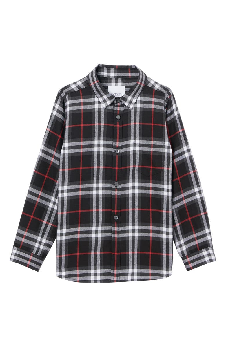 BURBERRY Frederick Check Flannel Shirt, Main, color, BLACK CHECK