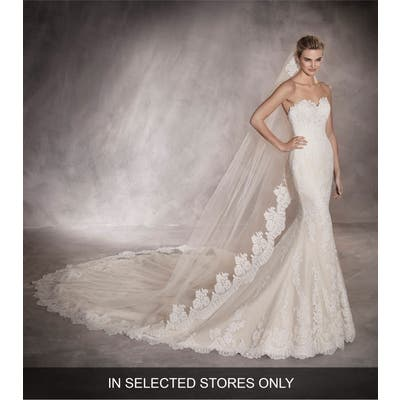 Pronovias Princia Strapless Lace Mermaid Gown, Size IN STORE ONLY - Beige