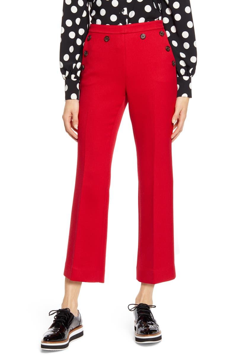 HALOGEN<SUP>®</SUP> x Atlantic-Pacific Button Detail Kick Flair Pants, Main, color, RED CHILI
