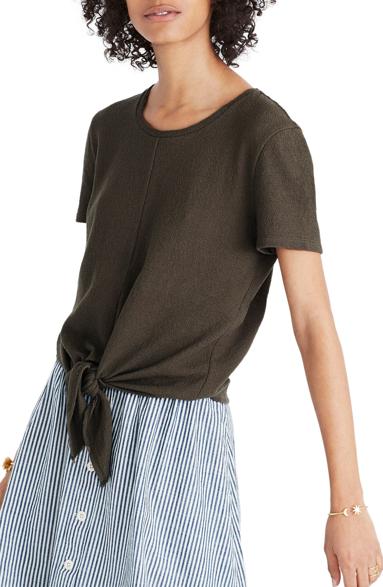 Modern Tie Front Tee, Main, color, 300
