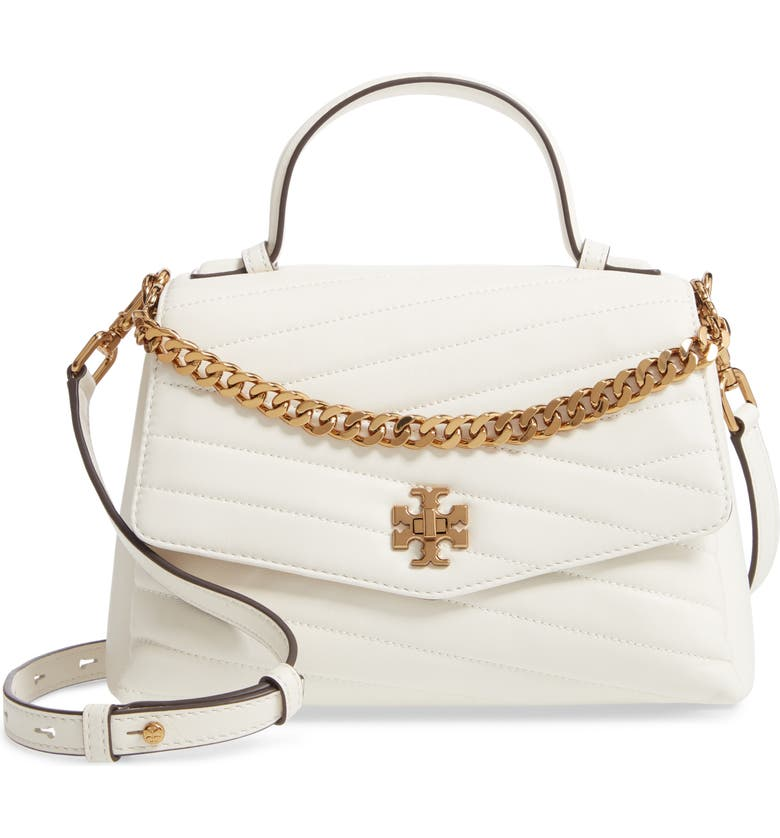 TORY BURCH Kira Chevron Quilted Leather Top Handle Satchel, Main, color, NEW IVORY
