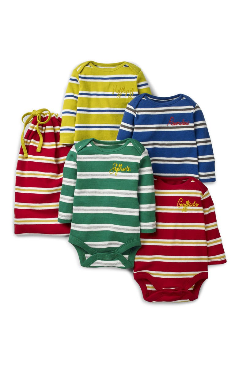 MINI BODEN Harry Potter 4-Pack Stripe Bodysuits, Main, color, HARRY POTTER