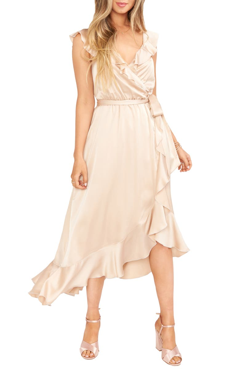 SHOW ME YOUR MUMU Samantha Ruffle Satin High/Low Faux Wrap Dress, Main, color, CHAMPAGNE LUXE SATIN