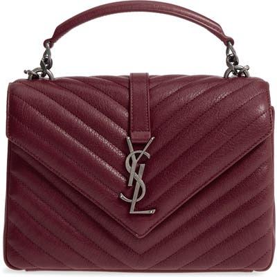 Saint Laurent Medium College Quilted Leather Shoulder Bag - Burgundy