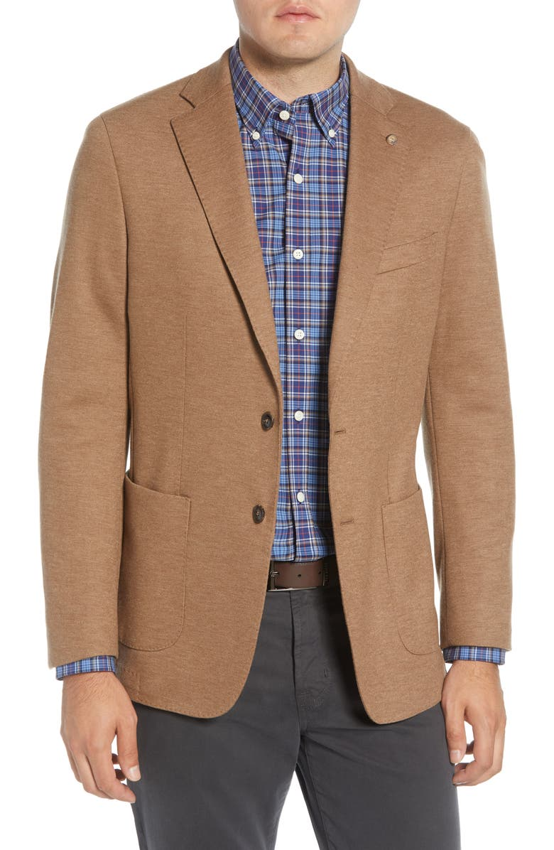 PETER MILLAR Reigns Wool Jersey Sport Coat, Main, color, VICUNA
