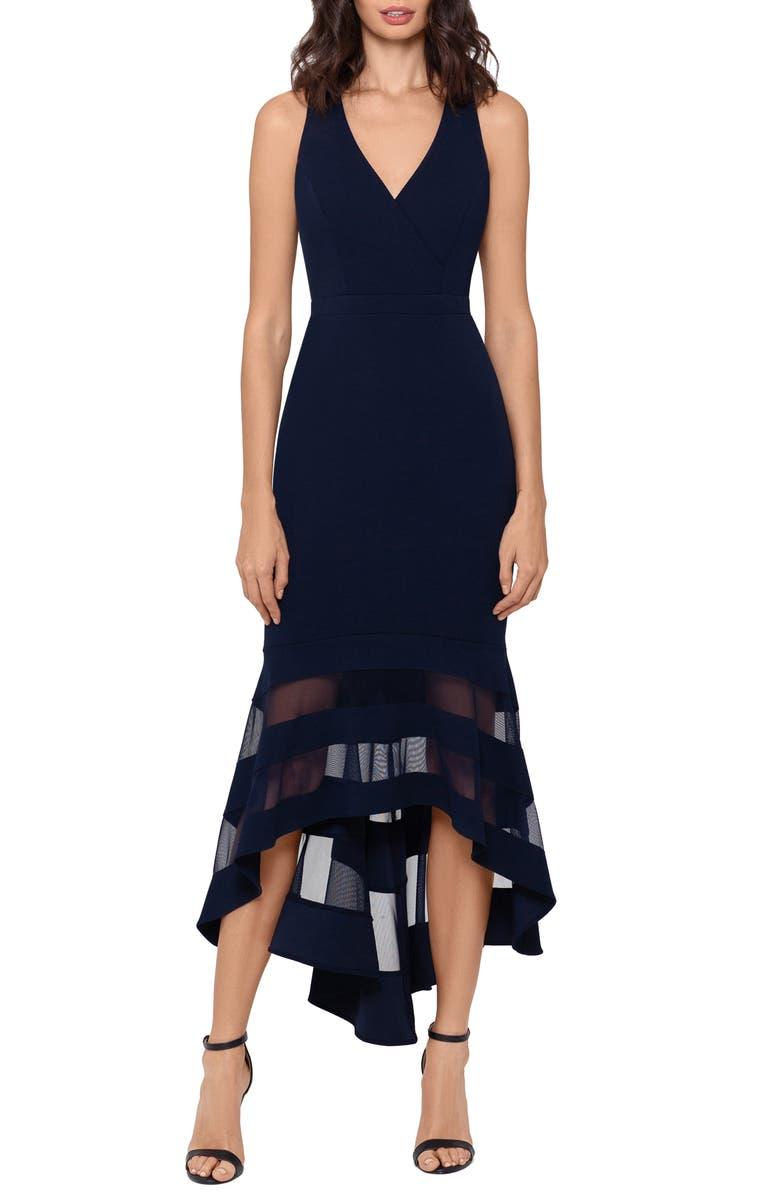 XSCAPE High/Low Flounce Midi Dress, Main, color, NAVY