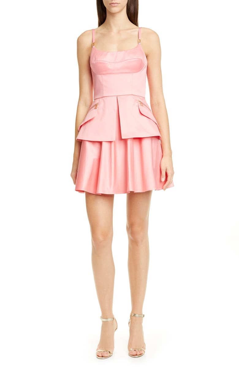 BRANDON MAXWELL Cotton Sateen Bustier Minidress, Main, color, FLAMINGO