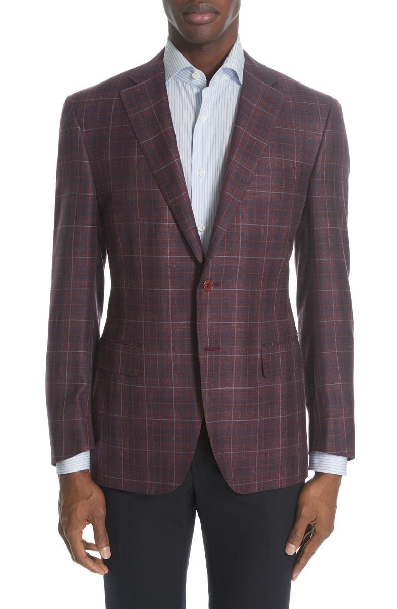 CANALI Siena Classic Fit Plaid Wool Blend Sport Coat, Main, color, DARK RED