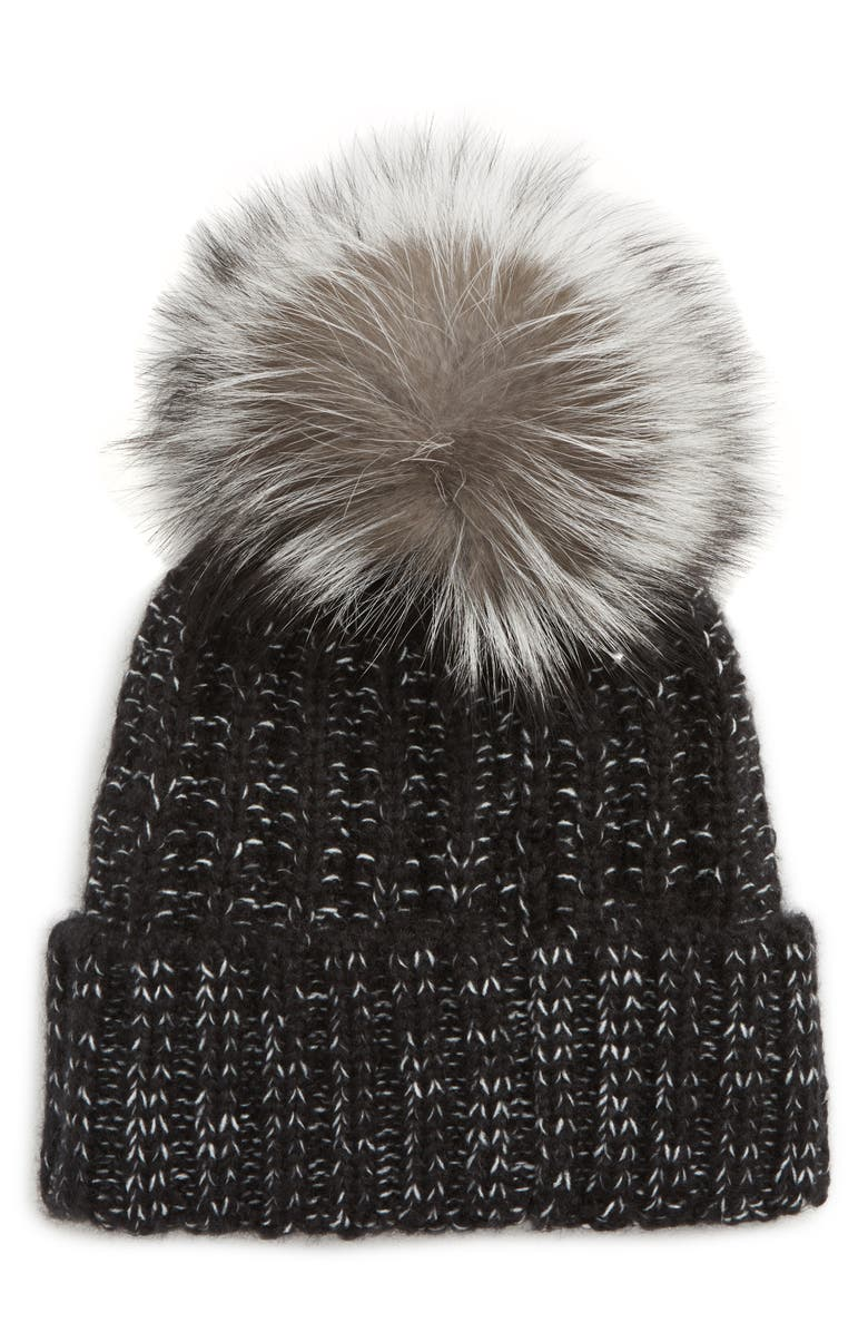 KYI KYI Beanie with Genuine Fox Fur Pom, Main, color, BLACK-SILVER FOX