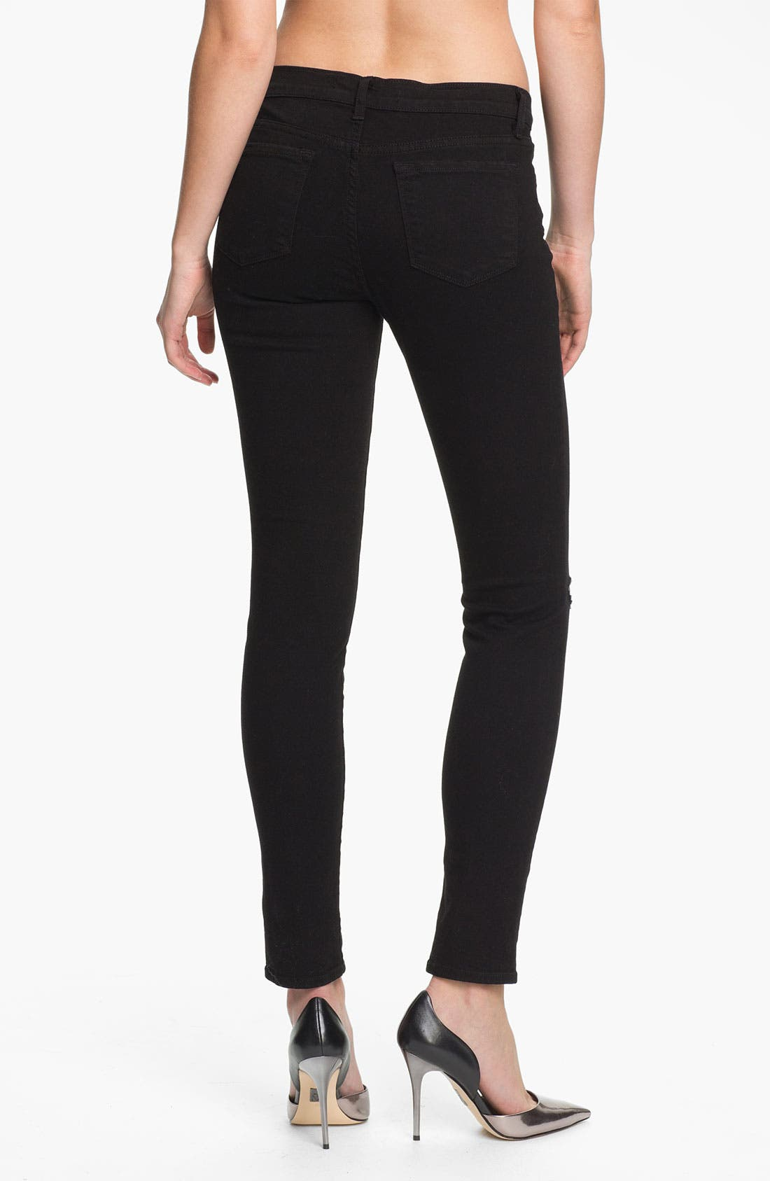 ,                             Skinny Stretch Ankle Jeans,                             Alternate thumbnail 3, color,                             001