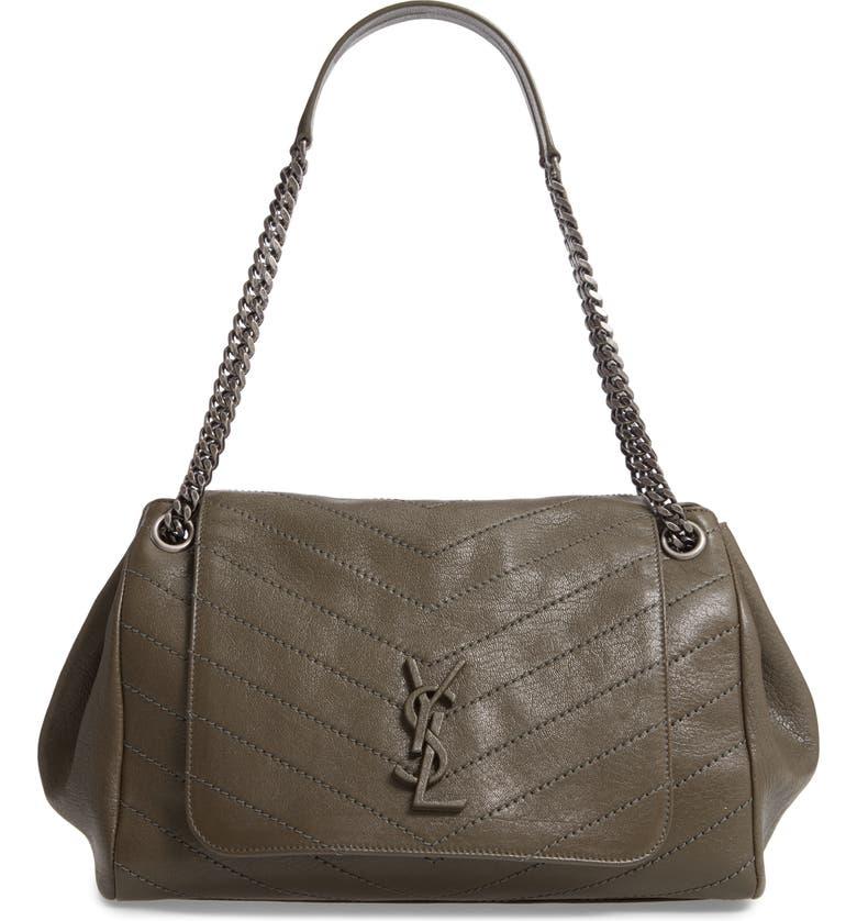 SAINT LAURENT Medium Nolita Leather Shoulder Bag, Main, color, OLIVE