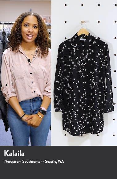 Long Sleeve Star Print Silk Shirtdress, sales video thumbnail