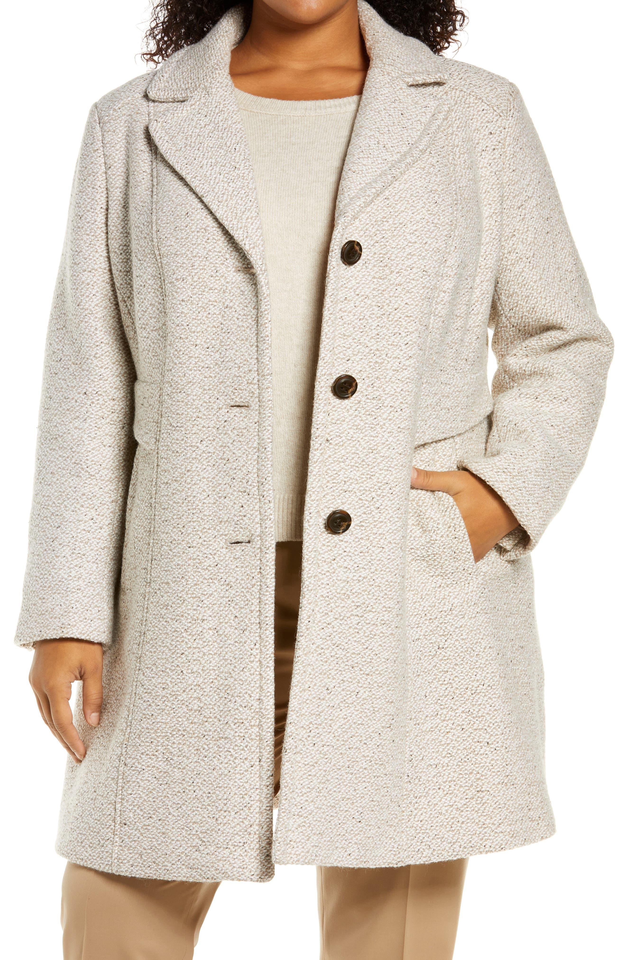 Notch Collar Tweed Coat