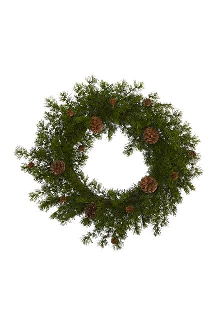 "Image of NEARLY NATURAL 18"" Alpine Pine & Pinecone Artificial Wreath"