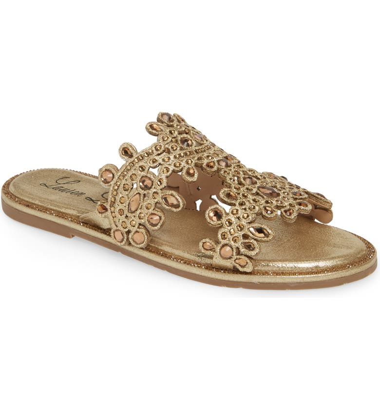 LAUREN LORRAINE St. Barts Slide Sandal, Main, color, GOLD FABRIC