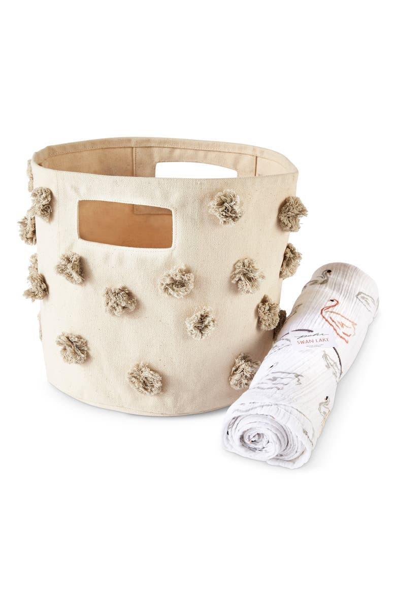 PEHR Swan Lake Pompom Canvas Bin & Swaddle Set, Main, color, MULTI