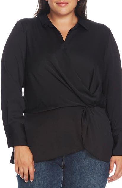 Vince Camuto Tops TWIST DETAIL HAMMERED SATIN BLOUSE