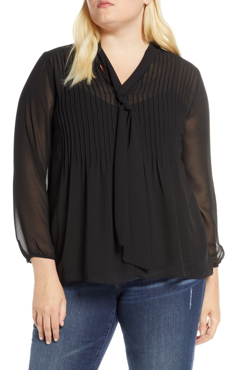 1.STATE Tie Neck Pintuck Chiffon Blouse, Main, color, RICH BLACK