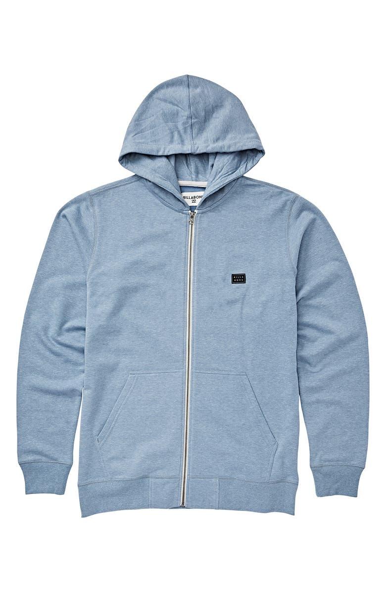 BILLABONG All Day Zip Hooded Sweatshirt, Main, color, POWDER BLUE