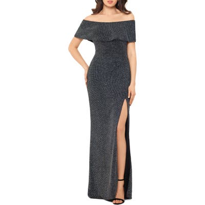 Xscape Off The Shoulder Glitter Knit Column Gown, Black
