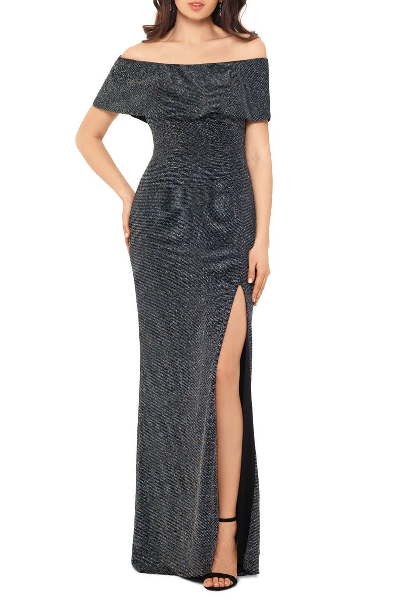 XSCAPE Off the Shoulder Glitter Knit Column Gown, Main, color, BLACK/ GOLD/ GUNMETAL