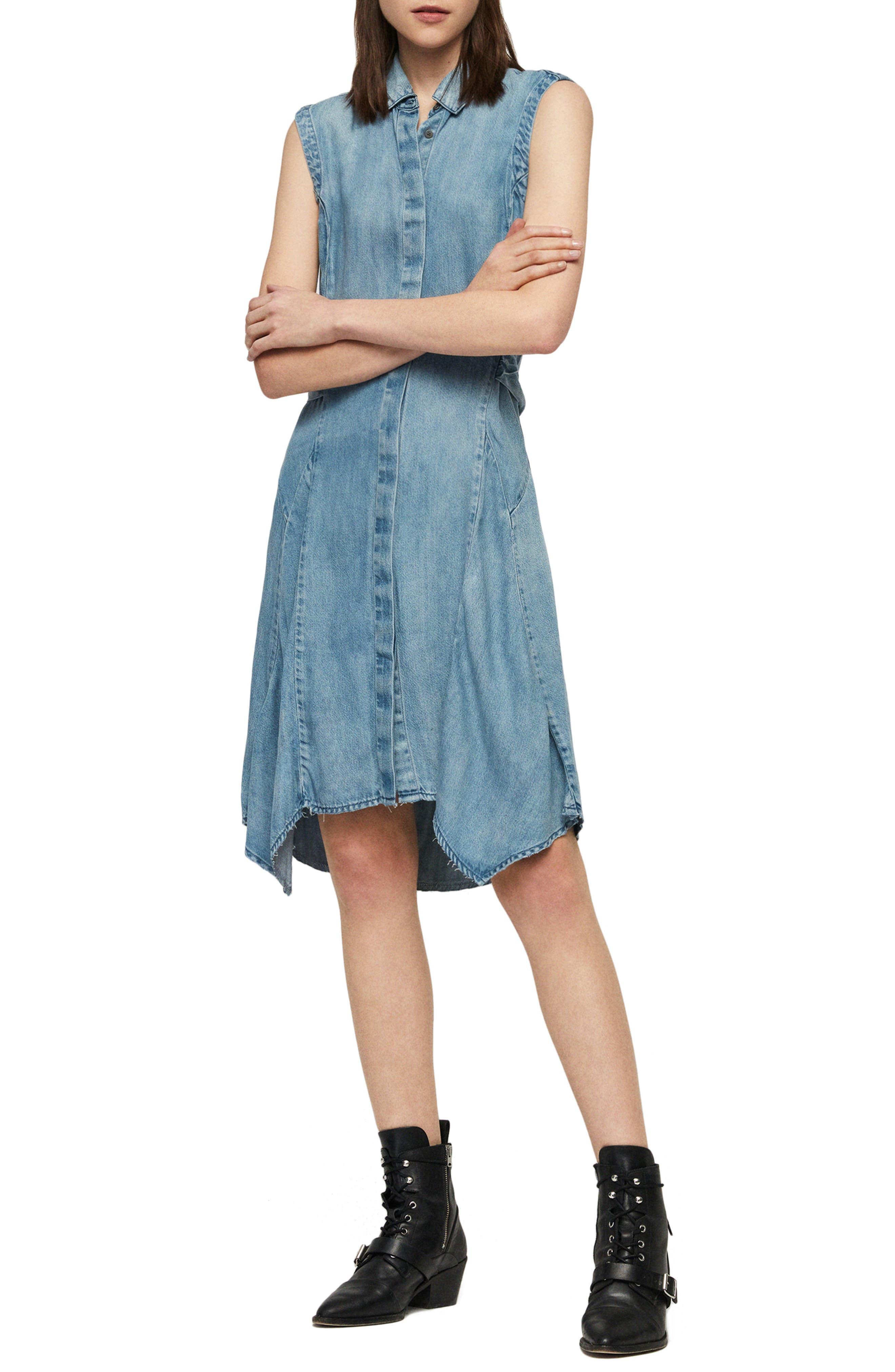 Allsaints Francis Denim Shirtdress, Blue