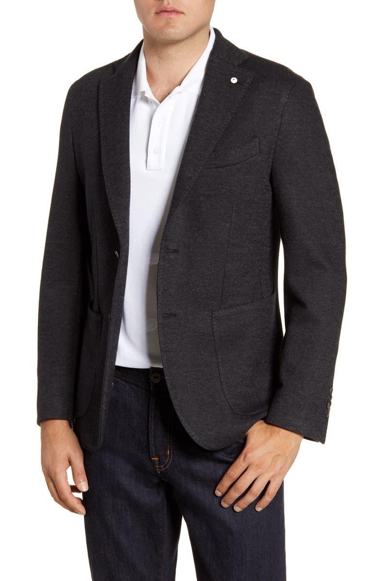 L.B.M. 1911 Trim Fit Jersey Knit Cotton Blend Sport Coat, Main, color, GREY