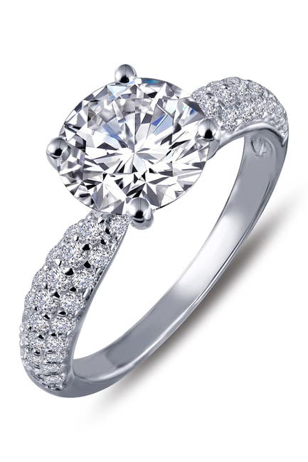Image of LaFonn Platinum Plated Sterling Silver Simulated Diamond Micro Pave Solitaire Ring
