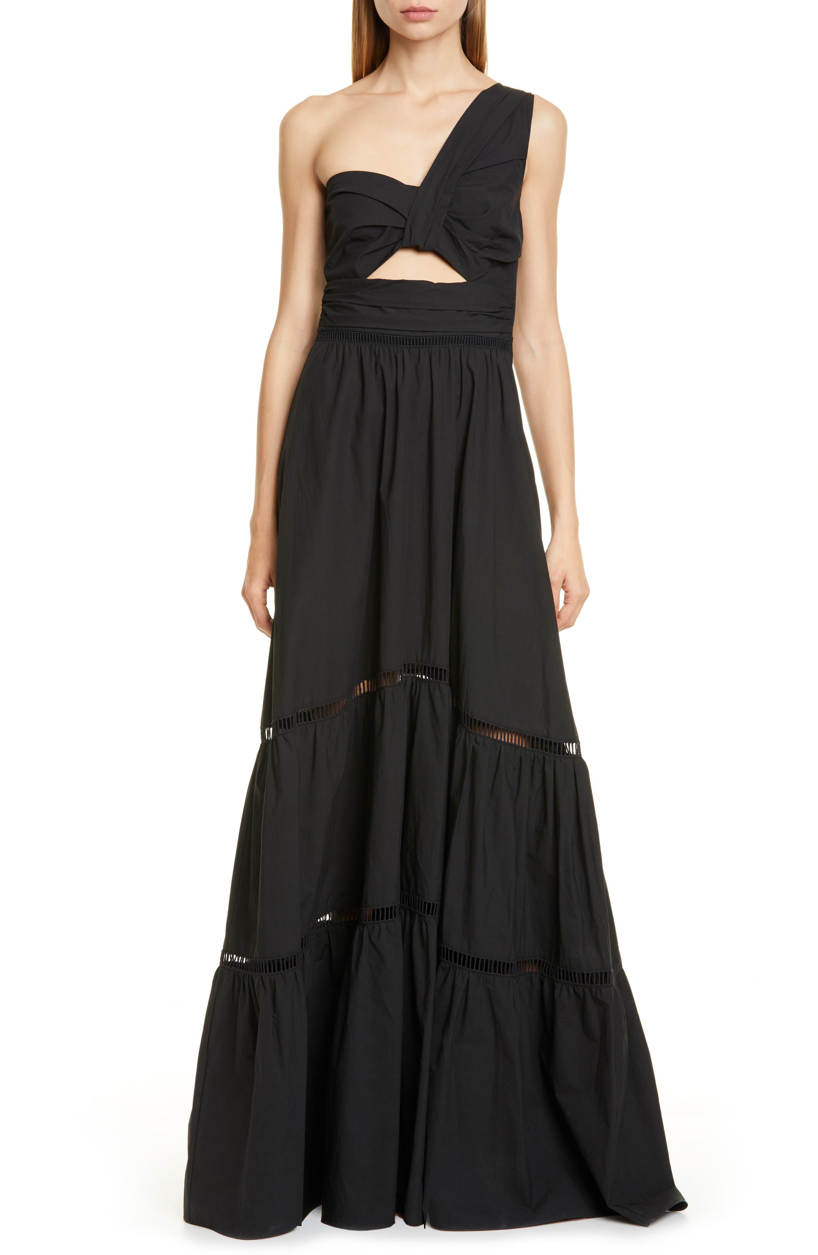 A.l.c. Piper One-Shoulder Maxi Dress, Black