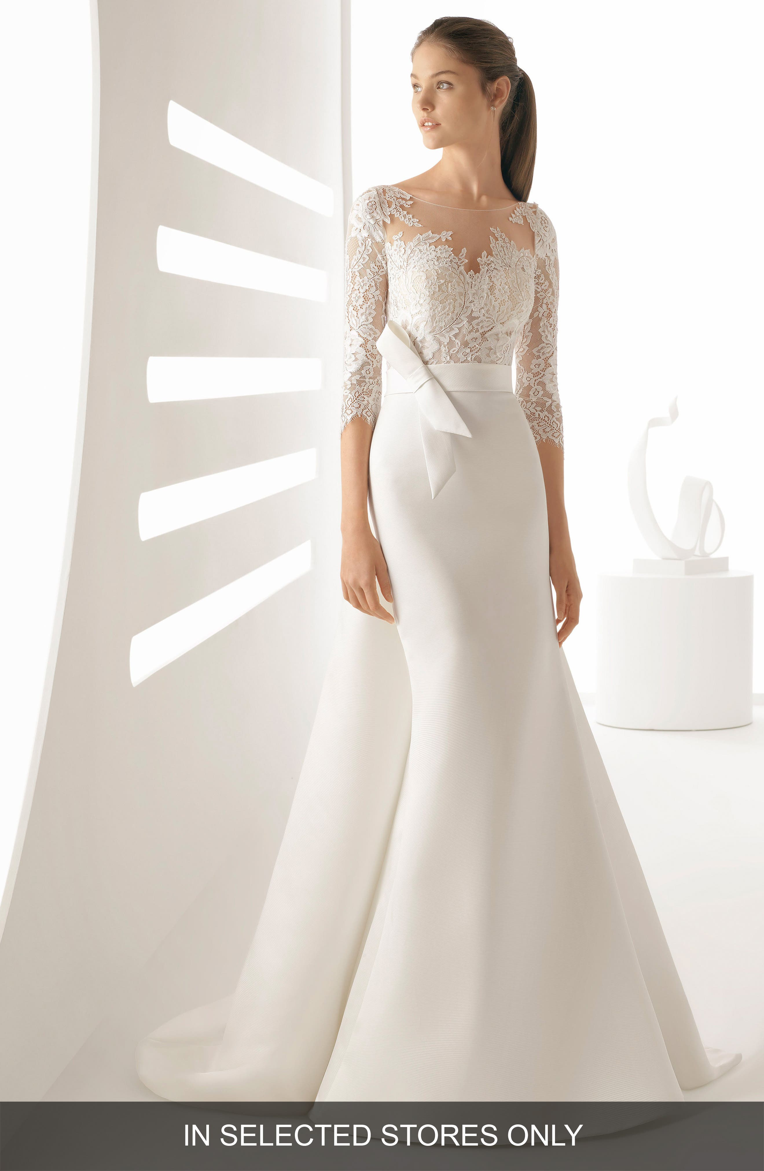 Rosa Clara Arpa Lace & Mikado Mermaid Gown, Size IN STORE ONLY - White