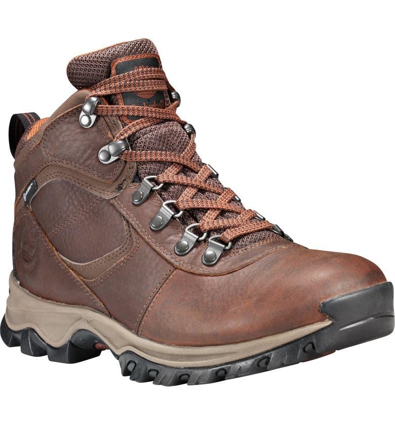 TIMBERLAND Mt. Maddsen Waterproof Hiking Boot, Main, color, MD BROWN FULL GRAIN