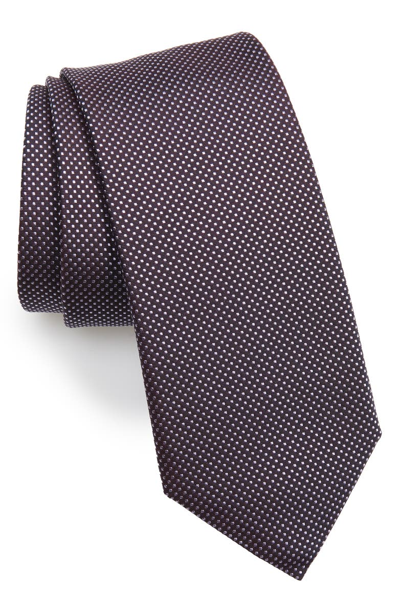 BOSS Dot Silk Tie, Main, color, PURPLE