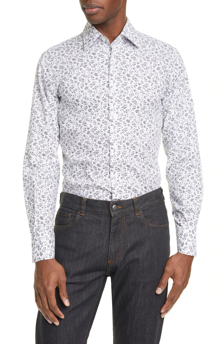 CANALI Slim Fit Floral Dress Shirt, Main, color, WHITE