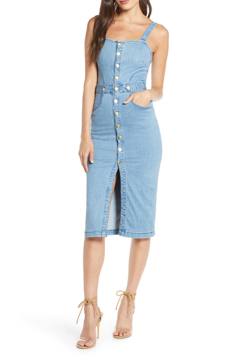 FINDERS KEEPERS Mia Stretch Denim Sundress, Main, color, BLUE