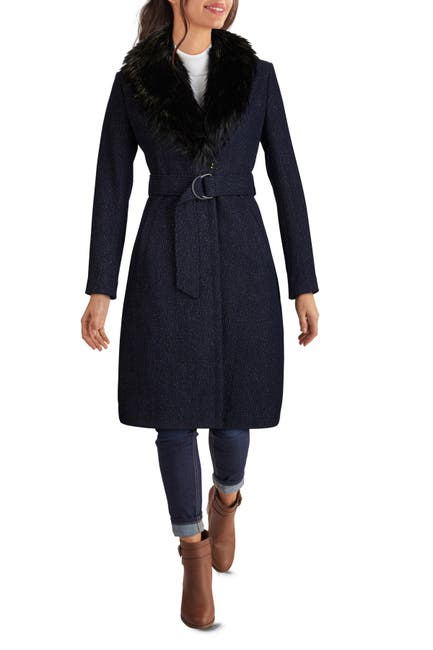 Image of GUESS Faux Fur Shawl Collar Belted Wool Coat