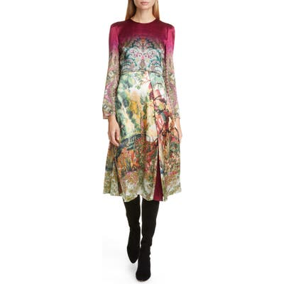 Etro Castle Print Long Sleeve Dress, US / 48 IT - Pink