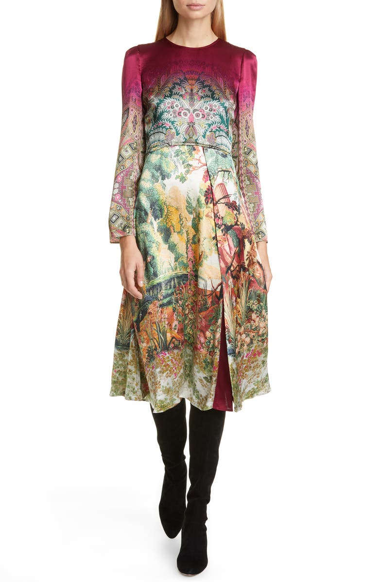 ETRO Castle Print Long Sleeve Dress, Main, color, 650