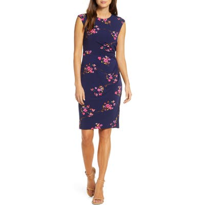 Eliza J Floral Jersey Sheath Dress, 8 (similar to 1) - Blue