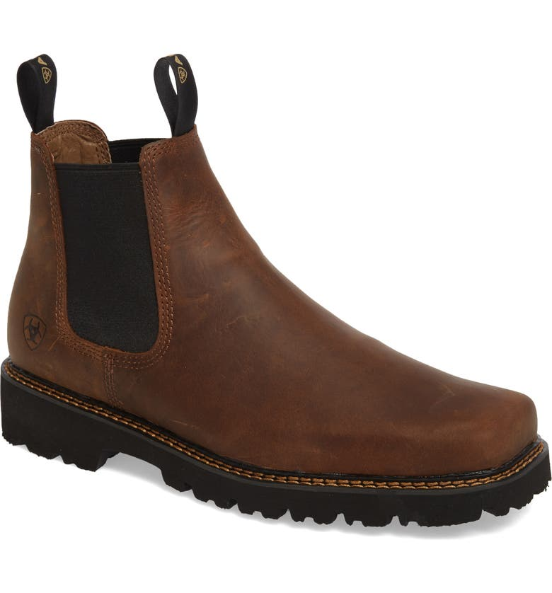 ARIAT 'Spot Hog' Chelsea Boot, Main, color, DISTRESSED BROWN LEATHER
