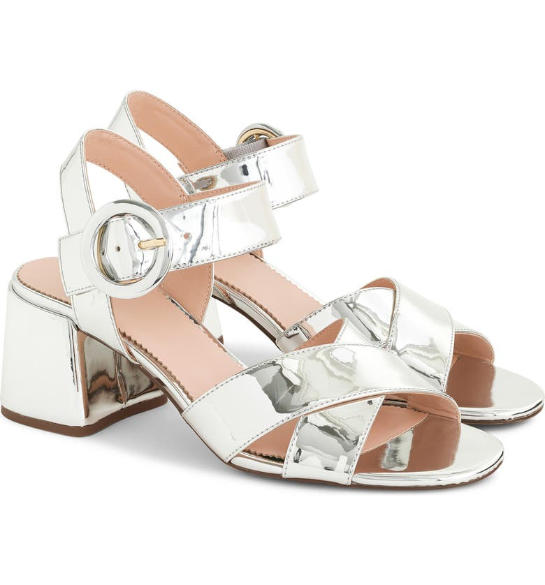 J.CREW Penny Sandal, Main, color, SILVER PATENT LEATHER