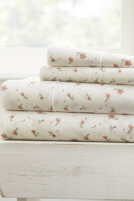 Image of IENJOY HOME The Home Spun Premium Ultra Soft Floral Pattern 4-Piece Queen Bed Sheet Set - Pink
