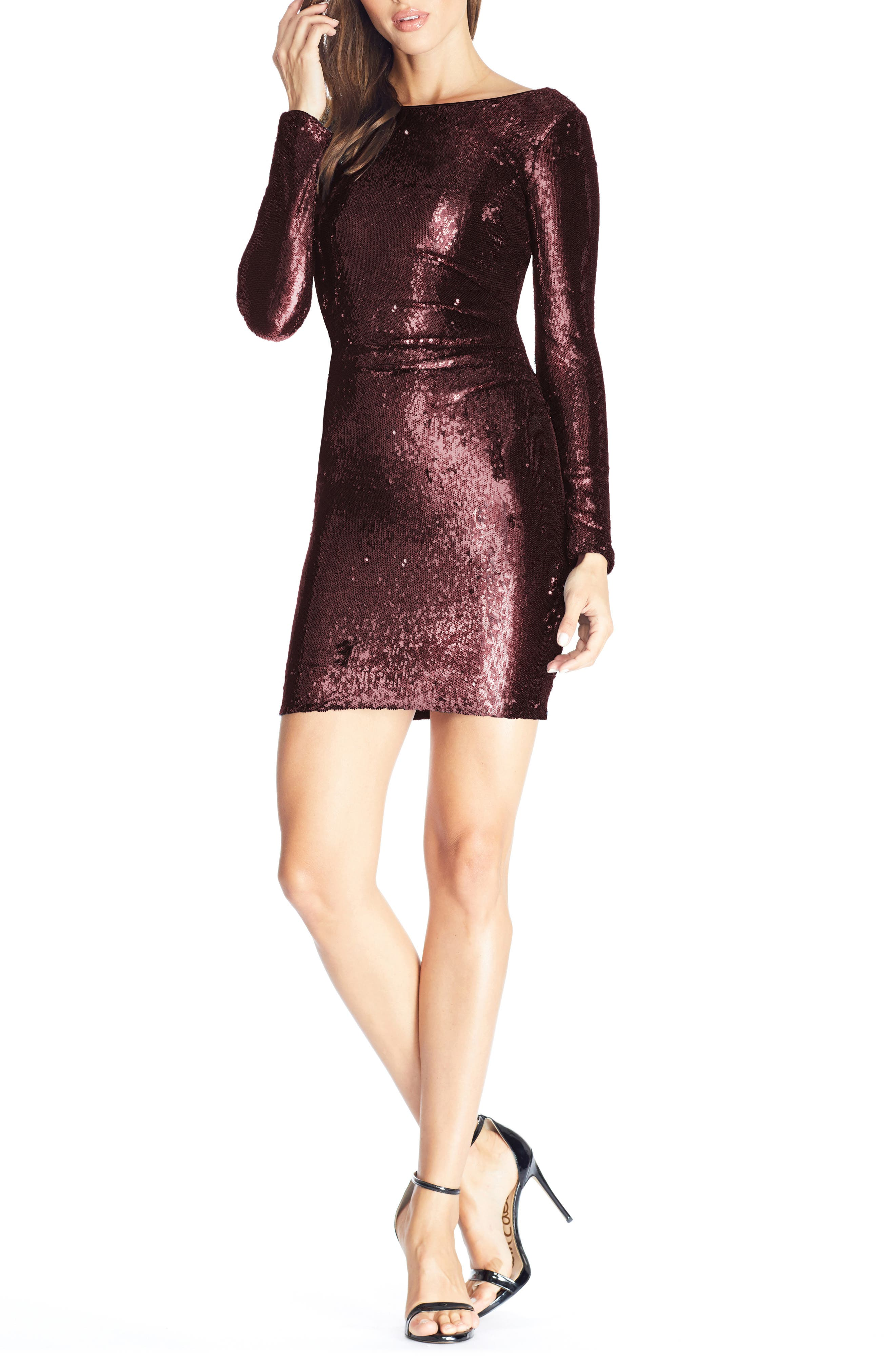 Dress the Population Lolita Sequin Long Sleeve Minidress
