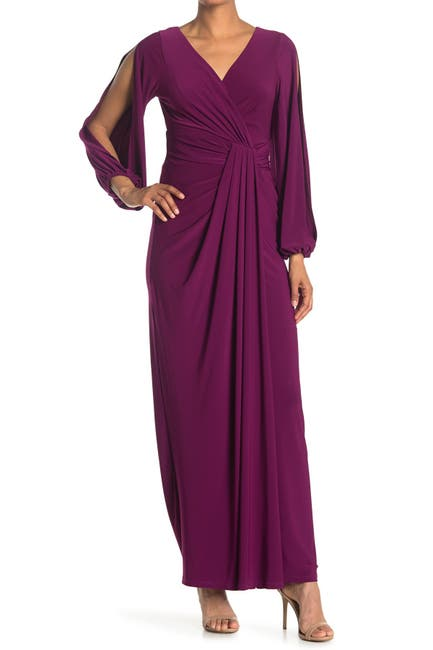 Image of Marina Long Ity Blouson Sleeve Gown