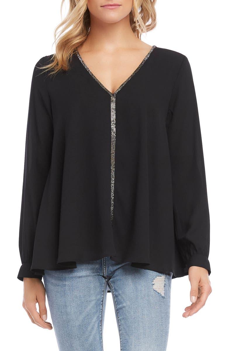 KAREN KANE Sparkle Long Sleeve Top, Main, color, BLACK