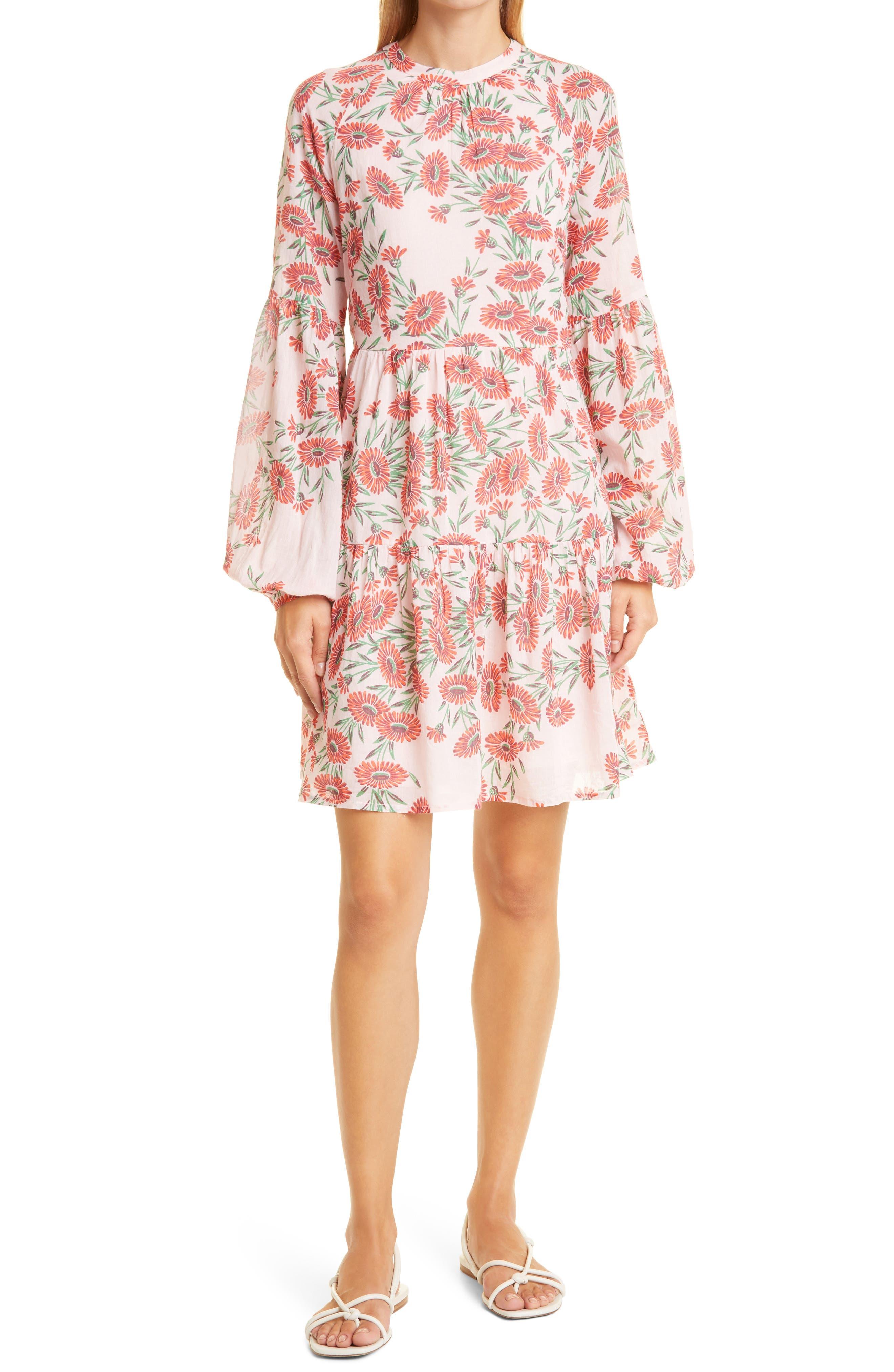Lorene Floral Fit & Flare Long Sleeve Organic Cotton Dress