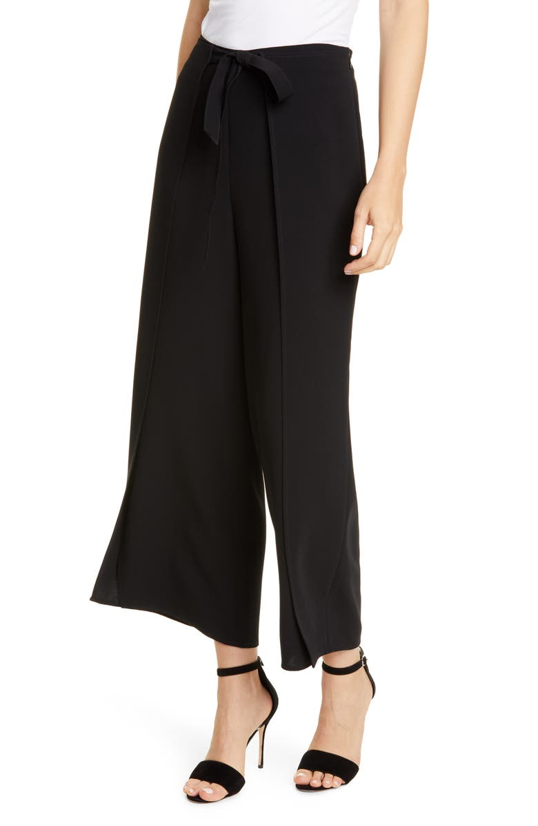 CINQ À SEPT Renata Tie Waist Wide Leg Pants, Main, color, BLACK