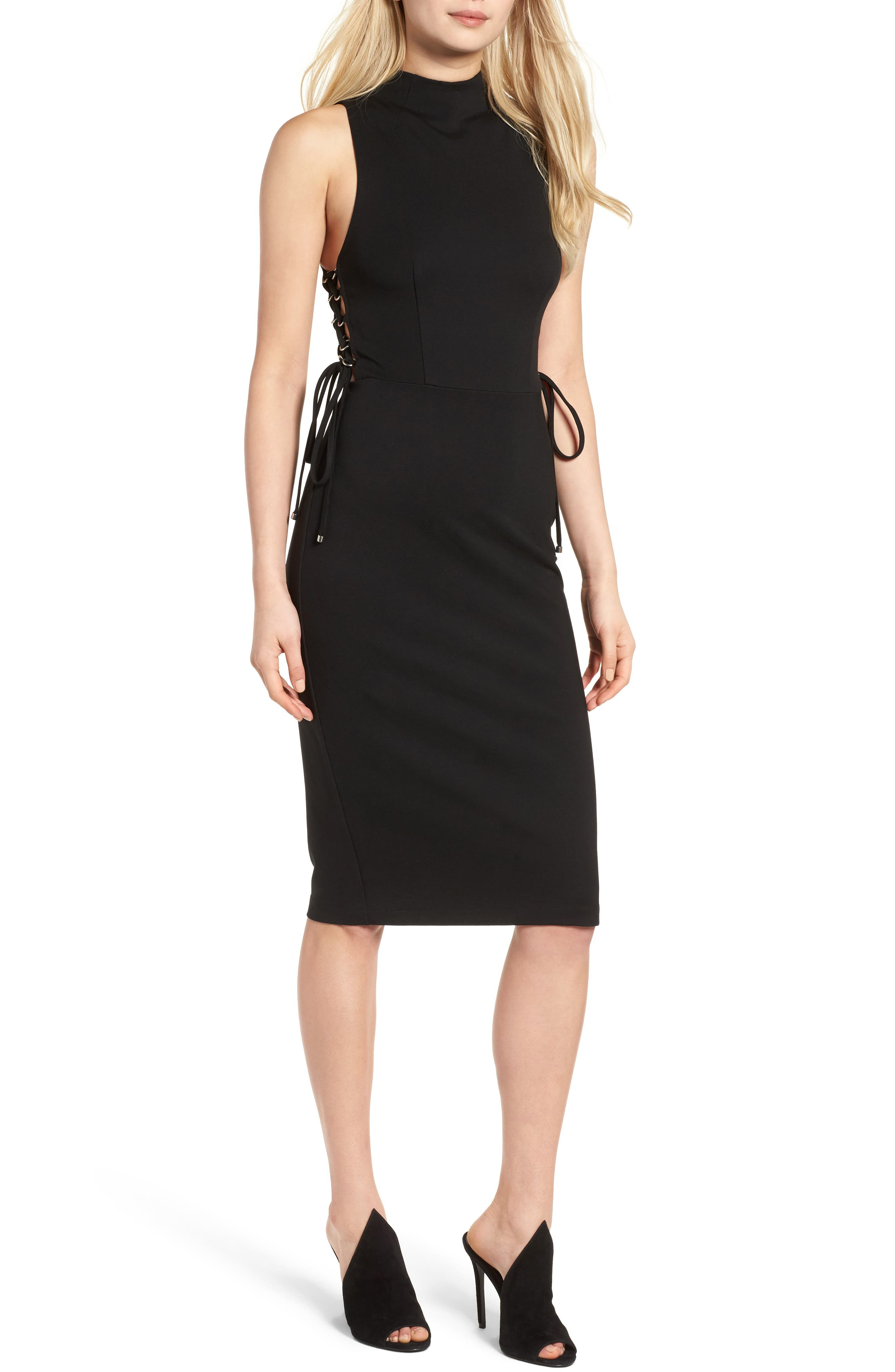 Image of KENDALL AND KYLIE Lace-Up Midi Dress