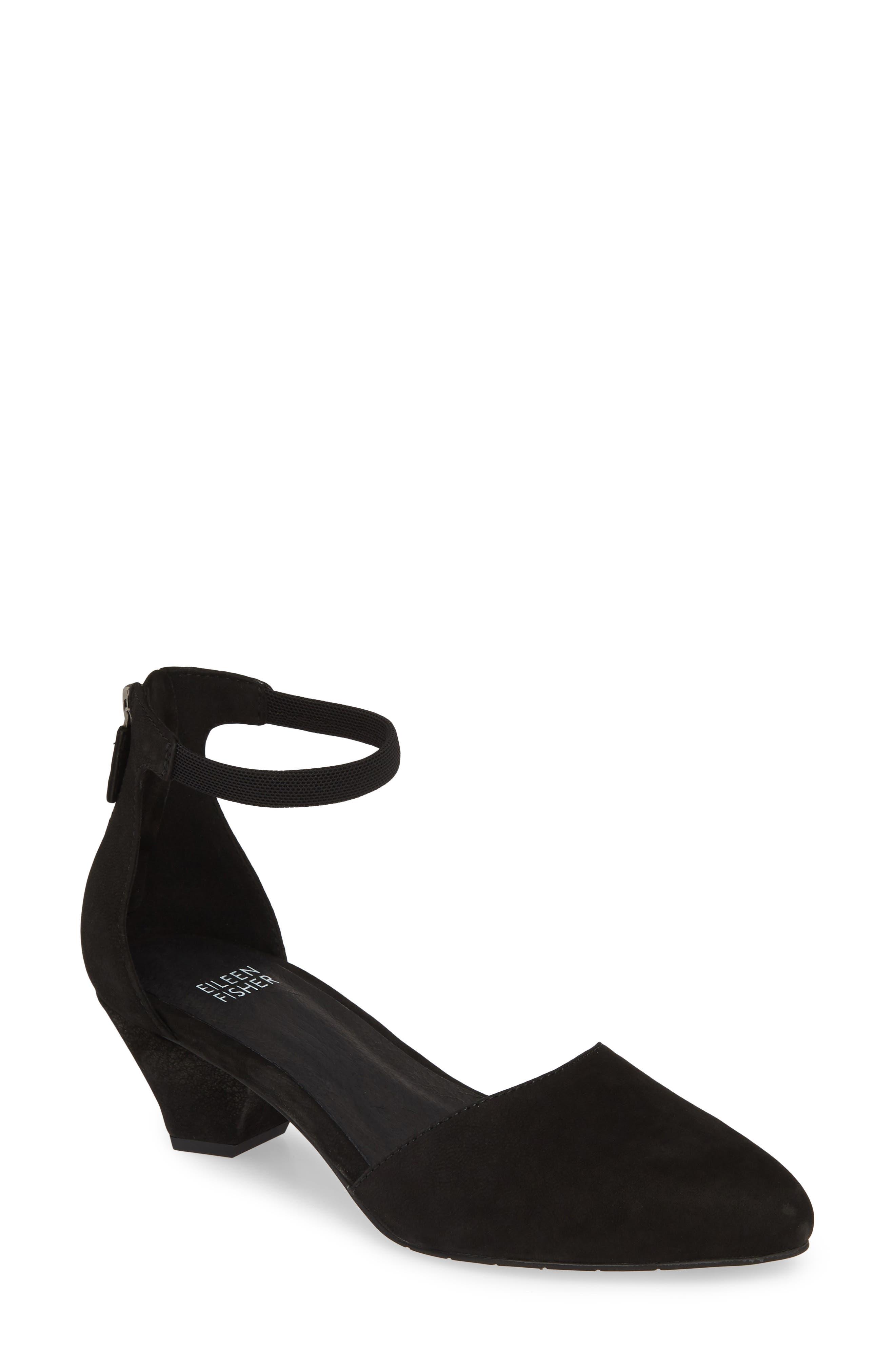 Eileen Fisher Just Ankle Strap Pump- Black